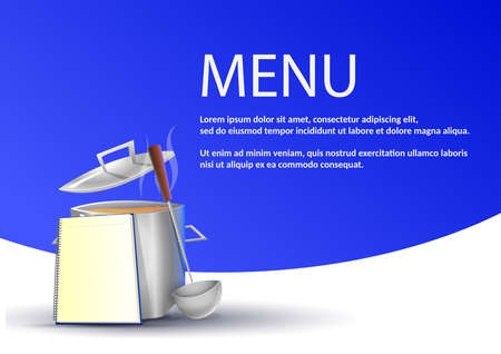 Simple restaurant menu: Pot with typical food on blue background. Vector image