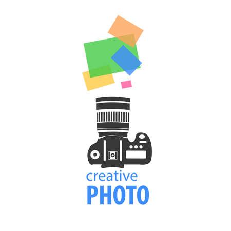 Logo creative photography. Camera: Camera silhouette shooting colorful photographs. Studio Vector image