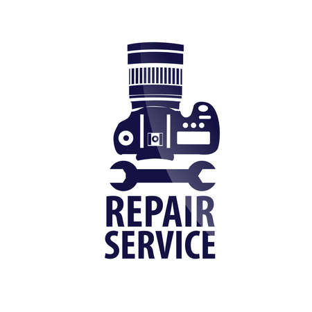 A Logo repair service  and text in dark blue on white background Vector image