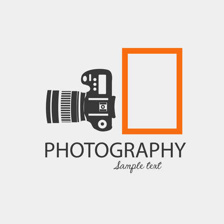 Logo photography: Camera silhouette with orange rectangle. Vector image