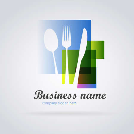 Logo restaurant abstract colors: Fork spoon and knife on abstract colorful background. Vector image Ilustrace