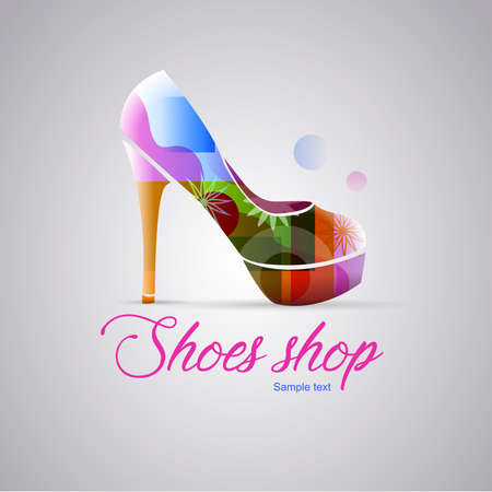 Logo shoes woman shop: Woman shoe with spring colors. Gray background. Vector image Ilustrace