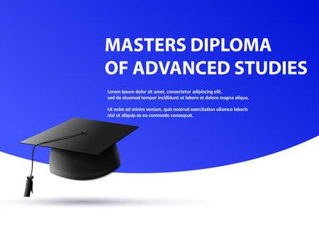 Advanced studies graduation diploma of Student cap on blue background Vector image Illustration