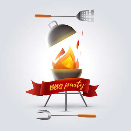 Barbecue party. Barbecue meals: Barbecue with flames and utensils to cook grilled meat. Vector image.