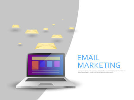 Email marketing campaign: Laptop sending emails with three-dimensional effect. Two colors background. Vector image