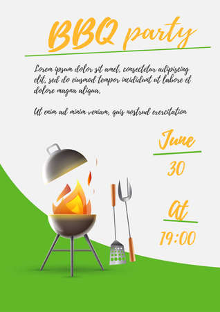 Poster invitation summer barbecue: Barbecue in the home garden. Invitation with date and time. Vector image.