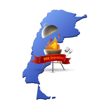 Argentinian meat barbecue: barbecue with flame and utensils on the map of Argentina