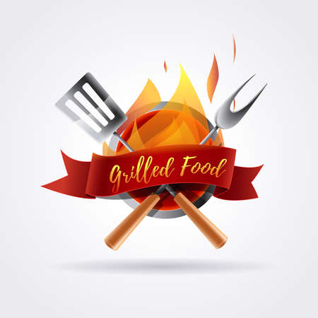Grilled food design, Barbecue with flames. Utensils and red bow.