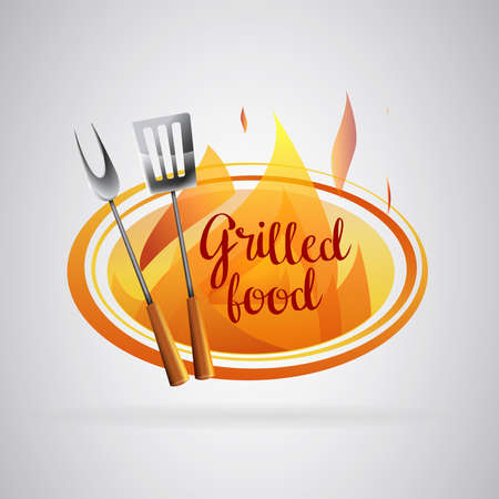 Barbecue grilled food with flames, Barbecue with flames and utensils.