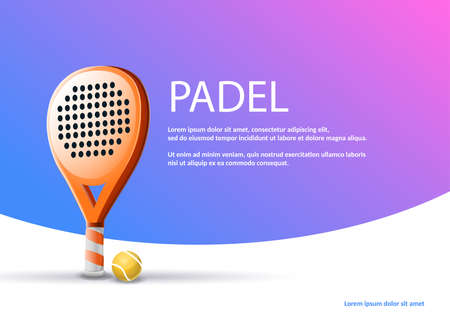 Poster raquet padel tennis: Vector illustration of racket and paddle ball on blue and purple background. Example text