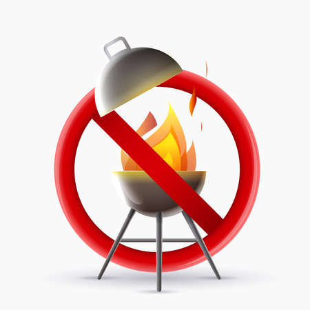 forbidden barbecue sign: Signal of a lit barbecue and a disc of prohibition. No barbecue