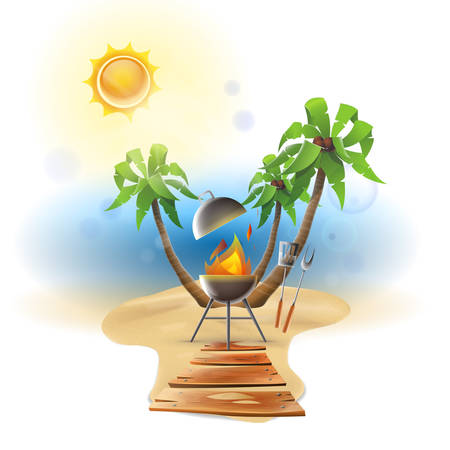 Beach barbecue party. Sunny day: Barbecue and utensils on a sunny beach day. Vector image
