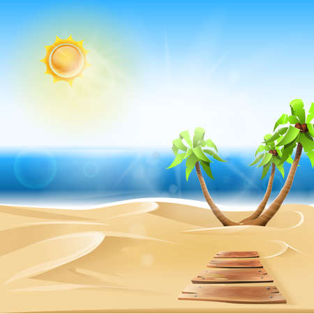 Beach landscape in sunny summer: Palm trees in the sand on a virgin beach. Vector image
