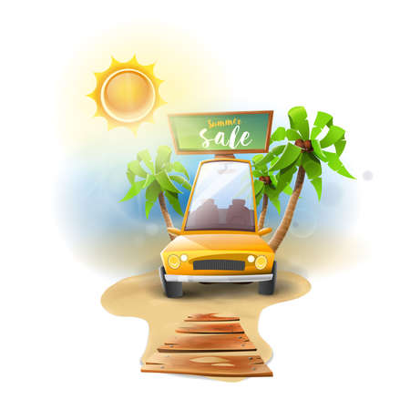 Car summer sale offers: Yellow car on beach with palm trees and bright sun. Offers. vector image Ilustrace