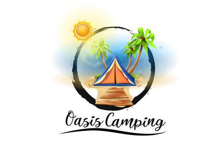 Logo beach camping paradise: tent among palms of the oasis beach