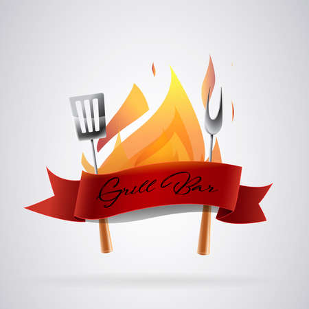 Logo barbecue: Utensils to make food to the coal and flames. Vector image