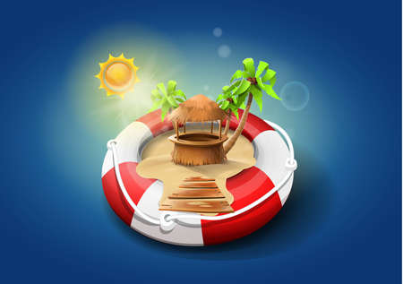 Safe vacations: lifeguard float with sand, bar and palm trees inside. Vector image