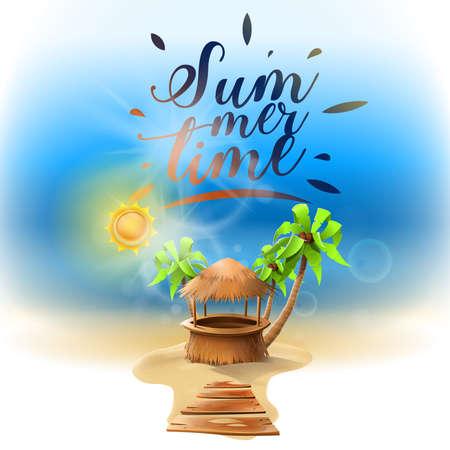 Summer beach holidays: paradisiacal beach with palm trees and fine sand. Sun. Image vector