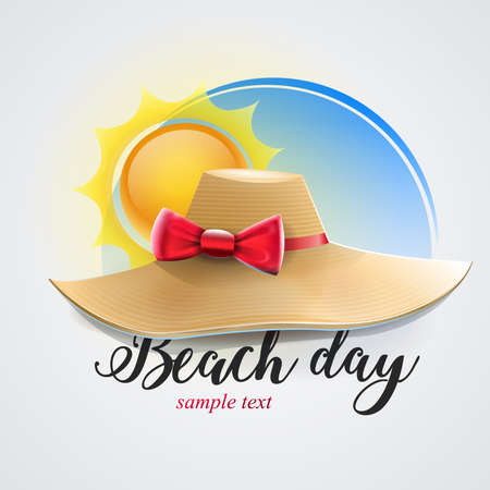 Womens hat for beach day: hat on blue background isolated. vector image