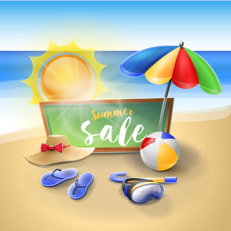 Summer sale. Tropical vacation: Vacation on the beach with all the utensils to spend the day. Vector image Ilustrace