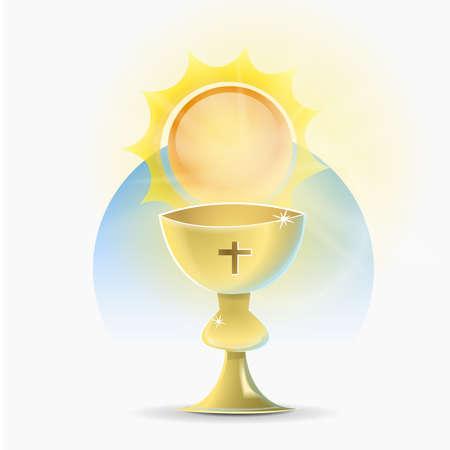 Cáliz santo de la religión cristiana: Recipiente, en forma de copa, que el sacerdote católico utiliza para consagrar el vino en la misa.
