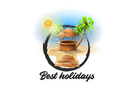 Logo summer bar: Vacation in paradisiacal beach with bar. Vector
