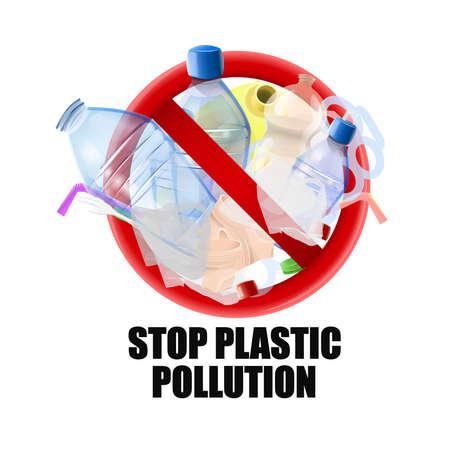 Sin señal de plástico: protesta contra la basura plástica. Imagen vectorial