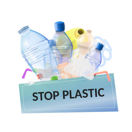 Stop plastic pollution: plastic garbage with poster with text Stop plastic. Vector image Ilustrace