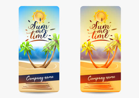 Summer card invitation party: two invitations for summer events. One normal invitation and one with vintage effect. Vector Ilustrace