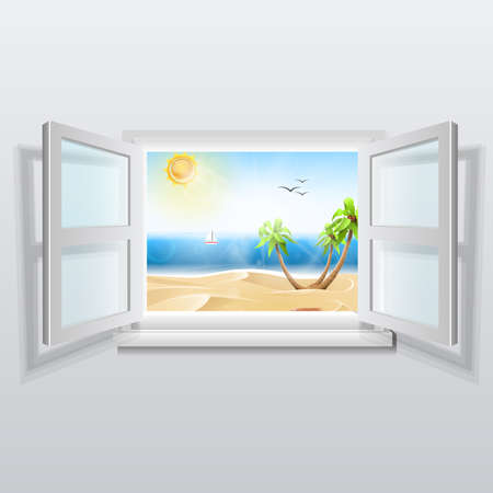 Open window with summer views: White window open. Summer landscape with beach palm trees. Vector