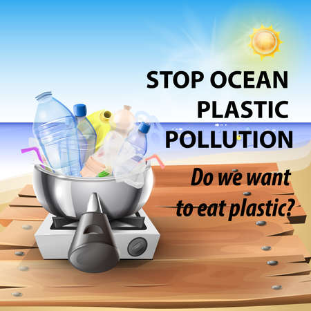 Stop plastic in the oceans: cooking plastic for not saving marine life. Vector image