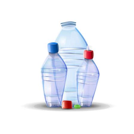 Empty plastic water bottles: three plastic bottles on white isolated background. Vector