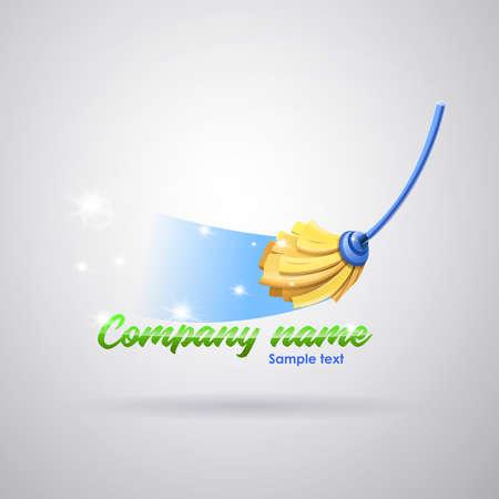 Logotipo de la empresa de servicios de limpieza: Mopa limpiando el piso dejándolo brillante. Imagen vectorial Logos