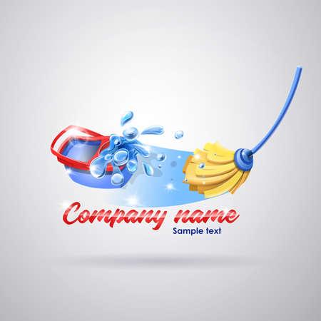 Service de nettoyage du logo: Vadrouille et seau nettoyant le sol avec des éclaboussures. Vecteur
