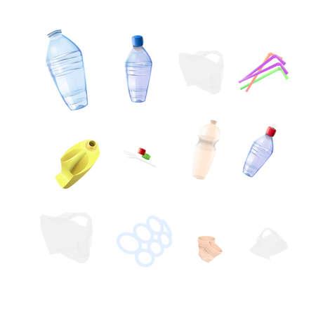 Plastic garbage elements Ilustração