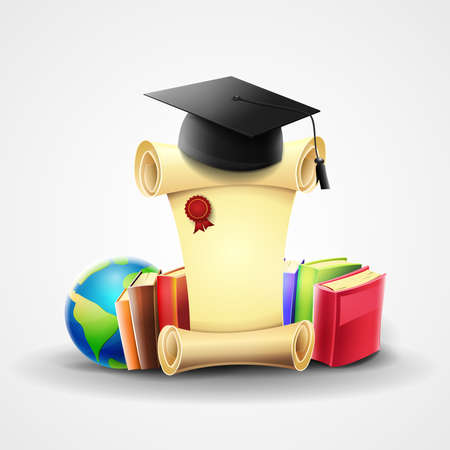 Certified diploma of higher education graduation: Rolled vintage paper, with books, students mortarboard and teaching elements on light gray background. Vector image Illusztráció