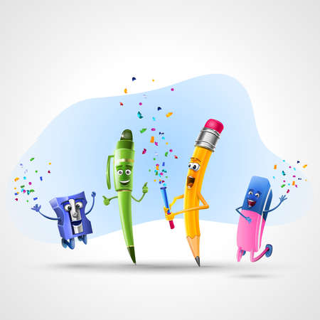 Back to school. The school season begins!: School supplies celebrating the return to school with a party. Vector Illustration