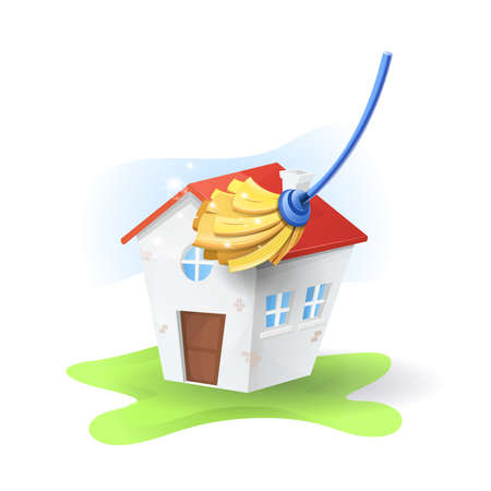 Cleaning service at home: Mop and house, on white isolated background. vector image