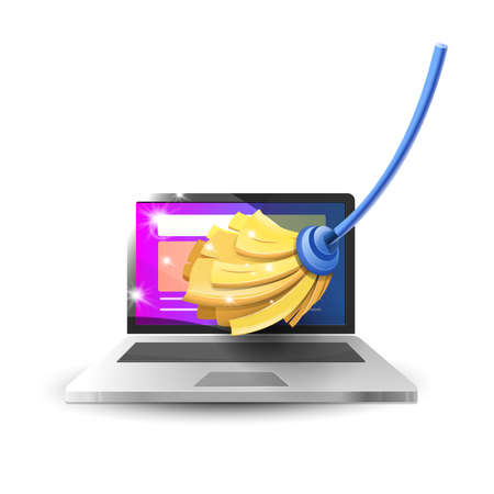 Cleaning and maintenance of computer equipment: Laptop and mop cleaning. Vector