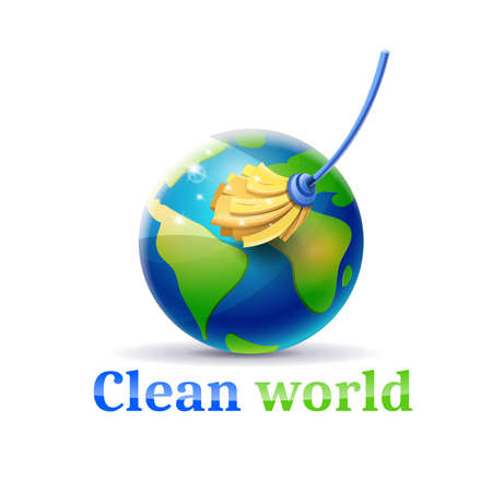 Clean the world of pollution and garbage: concept of planet earth and mop cleaning it Illustration