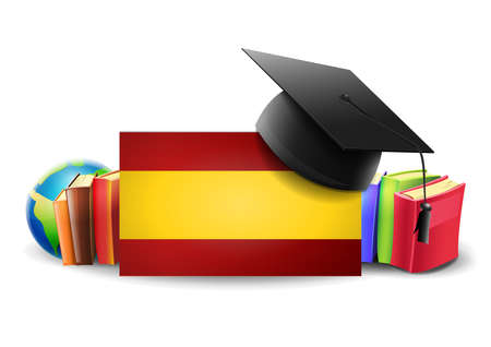 Learning to speak Spanish: Flag of Spain with books and teaching elements. Vector