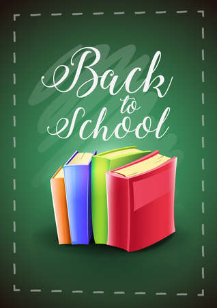 Back to school. Textbooks: Colorful books on green chalkboard background with text. Vector