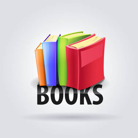 Logo colors books - Colored books on text BOOKS. Vector
