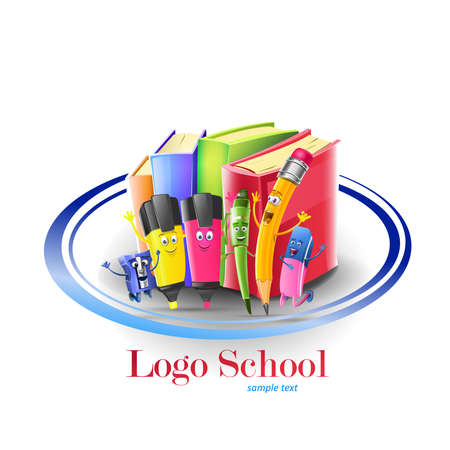 Logo school characters and books. Vector