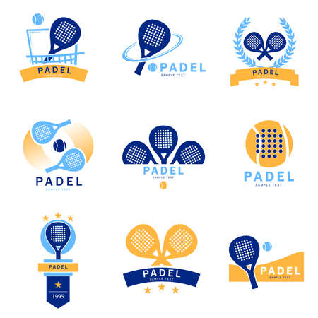 logo padel paddle tennis - set of tennis padel logos designed in three colors. Isolated vector Çizim