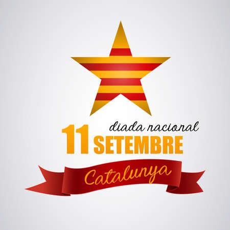 11 de septiembre, día de Cataluña. Independencia: Estrella con la bandera de Cataluña, comunidad española que intenta ser independiente. Vector Ilustración de vector
