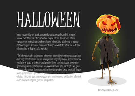 Scary halloween pumpkin background: Scary character on black and white background. Vector