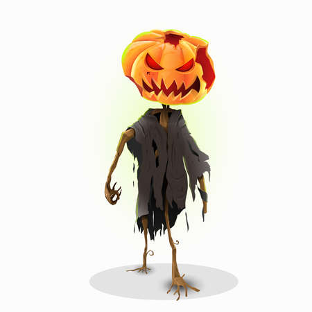 Horror halloween pumpkin character: Character with isolated background. Vector