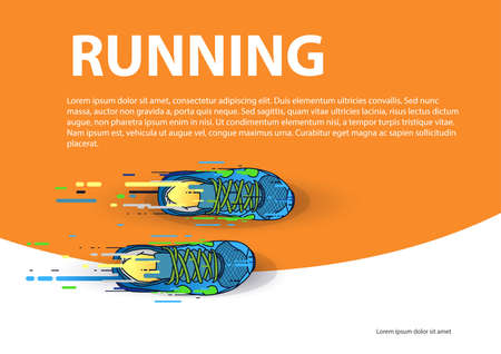 Sports poster running event: Multicolored running shoes on orange background. Vector Illusztráció