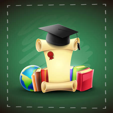 Graduation certificate of the academic course: Student cap on diploma and books with green chalkboard background. vector